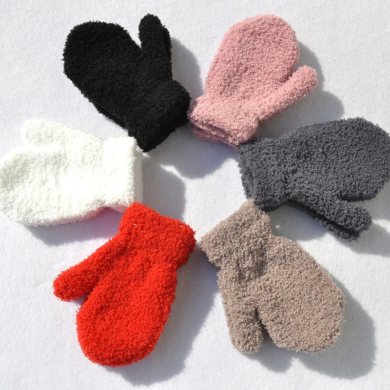 1 Pair Boy Girl Coral Fleece Winter Gloves Soft Plush Warm Kids Knitted Mittens Toddler Full Fingers Soft Solid Color Gloves