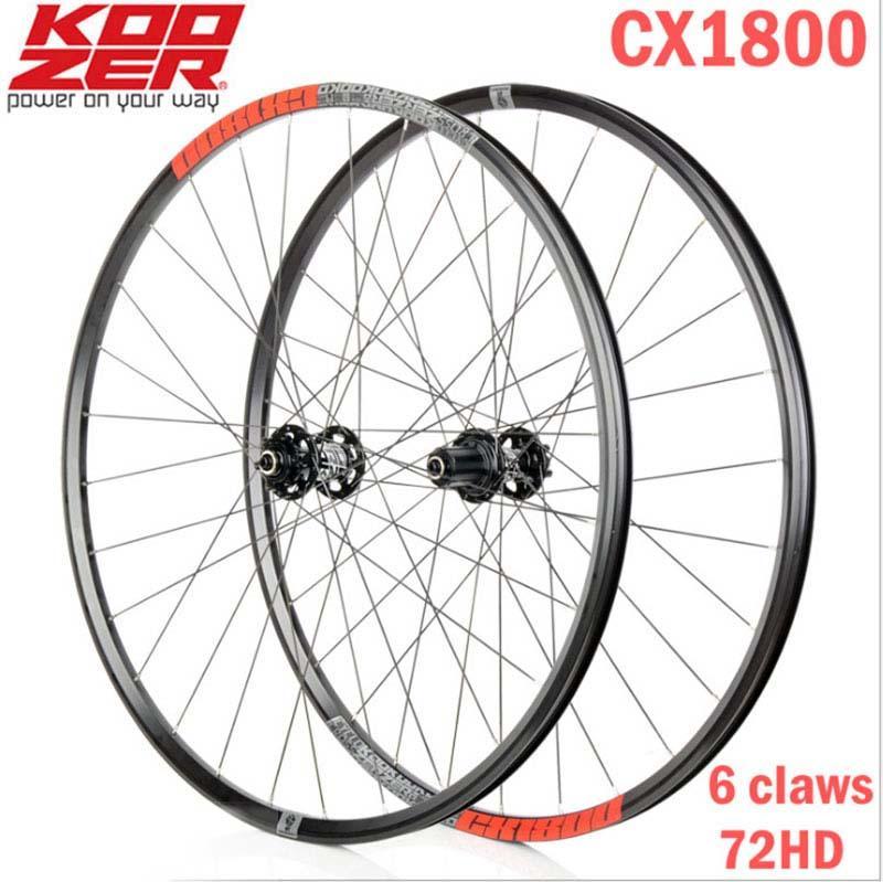 2020 KOOZER CX1800 Road Bike Disc Brake Wheelset 4 Bearing 72 Ring 700C Bicycle Wheels Rim 28Hole 1820g(China)