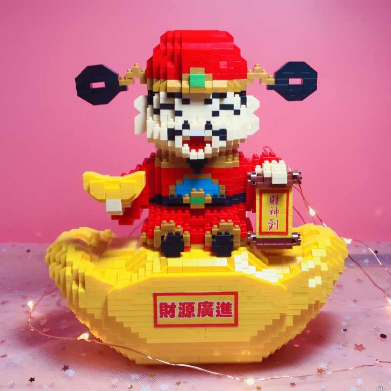 Babu Wealth God Gold Ingot Money Box DIY Mini Diamond Blocks Building Toy 8819