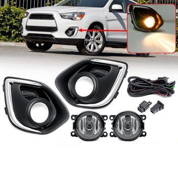 1 Set Fog Lamp For Mitsubishi Outlander Sport 2013 2014 2015 Assembly With Bulb + Cover Frame Super Bright Fog Light Halogen