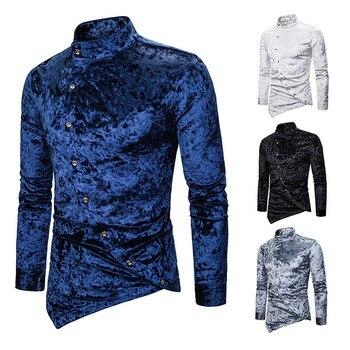 Cool Oblique Button Diamond Velvet Irregular Multi-Color Henry Collar High-End Long Sleeve Shirt Men Clothes Asymmetrical цена 2017