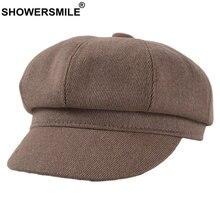 Showersmile хаки Вельветовая Кепка newsboy зимняя женская кепка