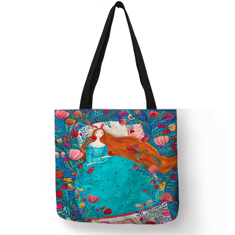 B13026 Creative Inbetweening Girls Series Shopping Bag Double Sides Printed Handbags Totes For Women Lady