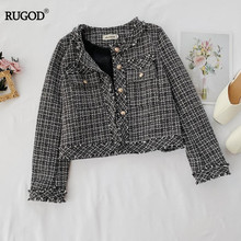 RUGOD  korean Style Chic Vintage Extra Coats O-neck Single Breasted  Plaid Outwears Casual Lady пальто женское 2019 женское шерстяное пальто
