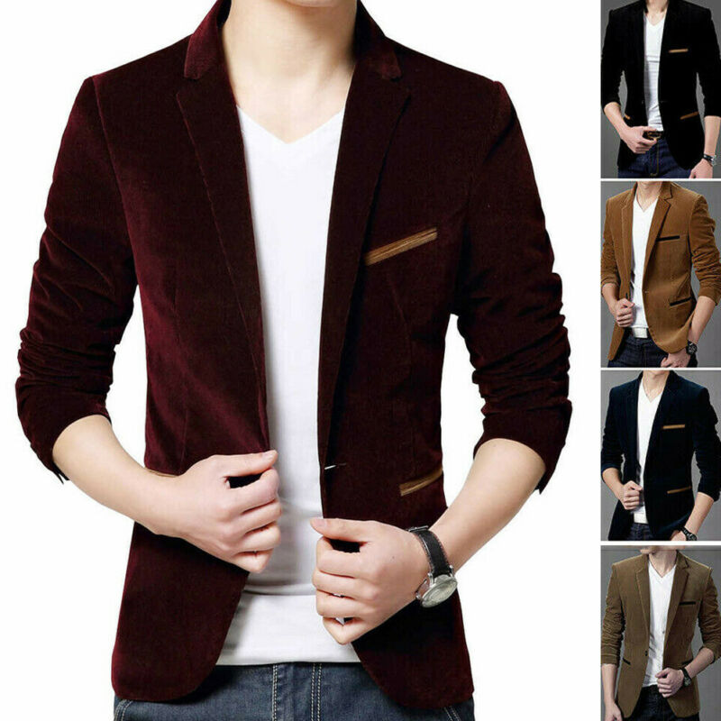 US STOCK Men's Casual Velvet Hot Men's Formal Suit Blazer Coat Business Casual One Button Slim Fit Jacket Tops Coats Men 3XL