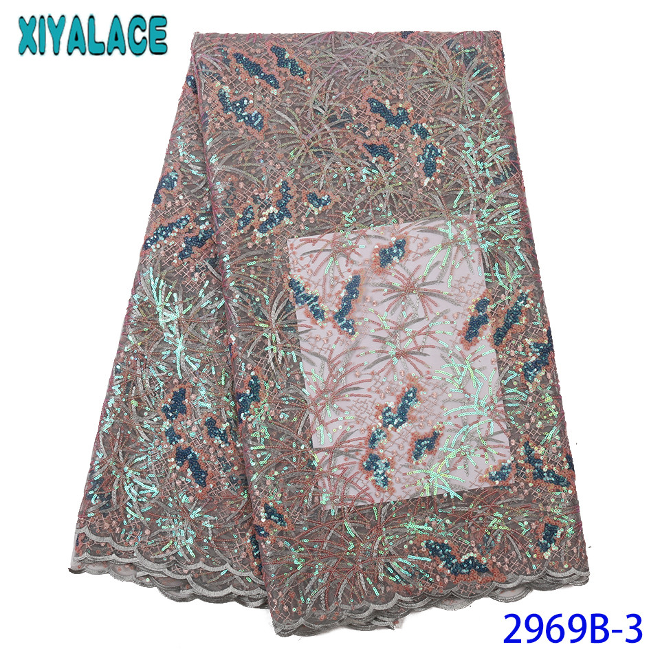 2019 Nigerian Embroidery Laces High Quality French Tulle Lace With Sequins For Lace Materials African Materials KS2969B-3