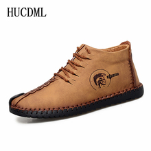High-top Men's Shoes Hand Stitching Leather Casual Shoes Bla