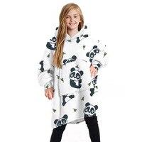 特大ぬいぐるみフード付きローブ7-13歳の女の子ミンクフリースの漫画のプリントフロントポケット両側長袖冬暖かいホームウェア