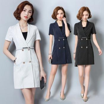 Fashion professional stripe dress anchor dress commuting new OL suit dress beauty dress shop manager dress dress galvanni dress