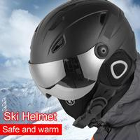 Winter Warm Snowboard Skiing Safety Sled Sledge Scooter Helmet Protection Cap Half covered Ski Helmet with Goggles Visor