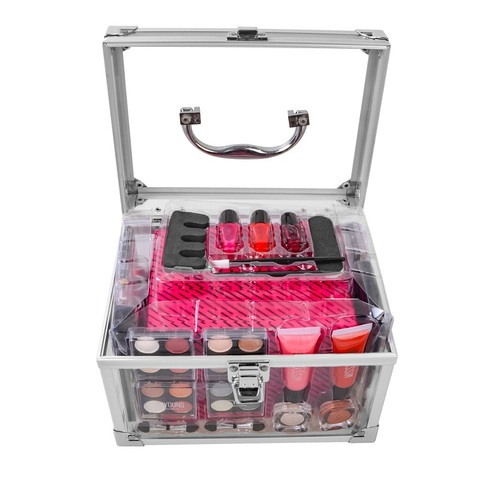 Conjunto de maquiagem caixa de maquiagem profissional kit de maquiagem de mala cheia sexy vermelho