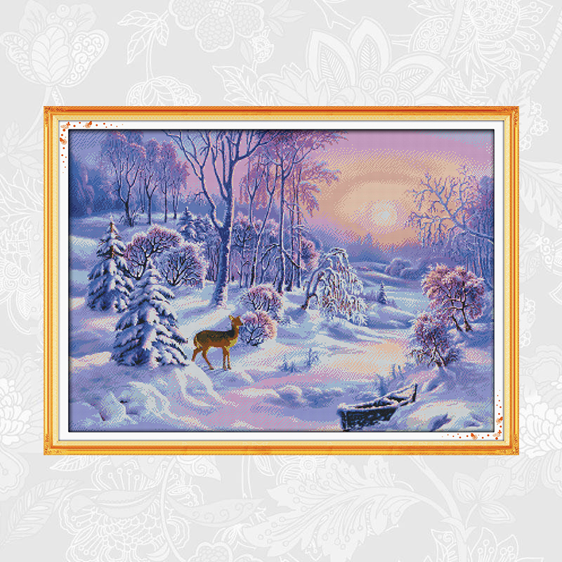 The Forest Snow Scene Needlework Embroidery Schemes 14CT 11CT Counted Printed On Canvas Cross Stitch DIY Hand Made Crafts