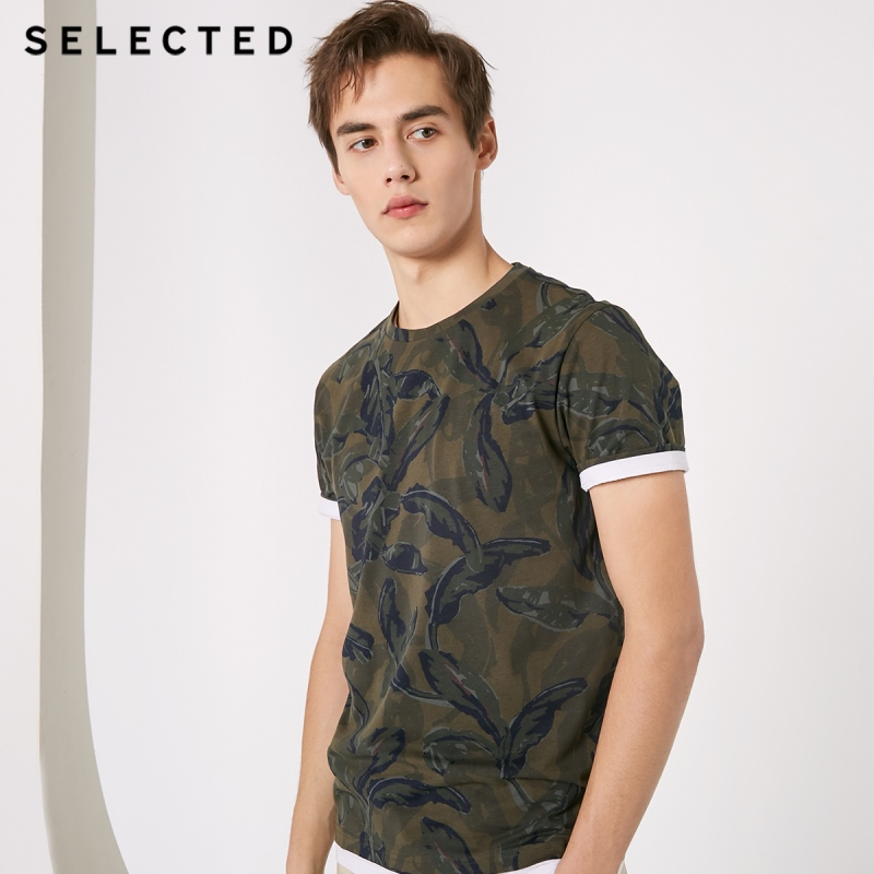 SELECTED Men's 100% Cotton O-Neck Patterned Short-sleeved T-shirt S|419101522