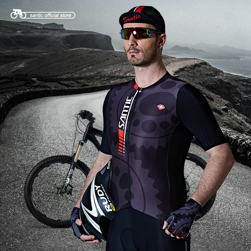 Santic Men Cycling Jersey Short Sleeve Pro Fit Antislip Summer Sleeve Cuff MTB