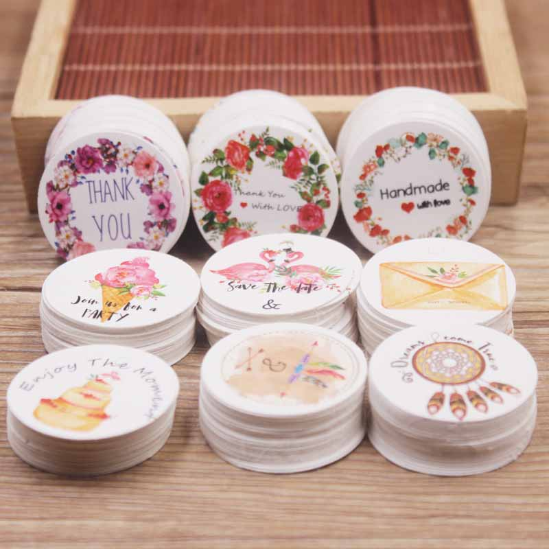 100pcs White /kraft Paper Gift Hang Tag Newest 3cm Circle Shape 300g Paperboard Labels Tag Cookies Wedding Favor Tag Hot Selling