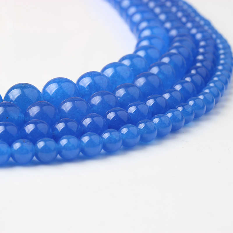 Cuentas sueltas de Calcedonia azul de moda Natural 4/6/8/10/12mm adecuadas para DIY accesorios de collar de pulsera venta directa de fábrica