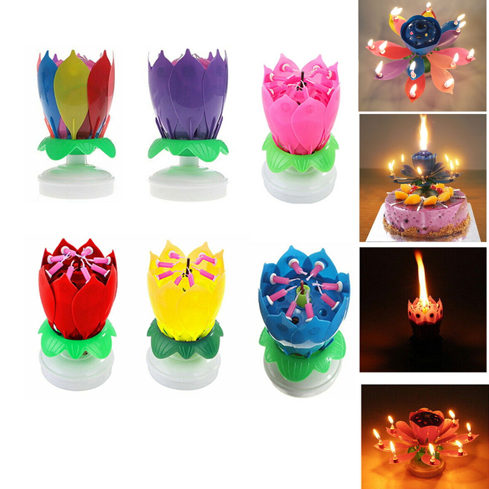 New Creative Romantic Musical Lotus Double Rotating Happy Birthday Candle Lights DIY Cake Candle Decoration Battery Included