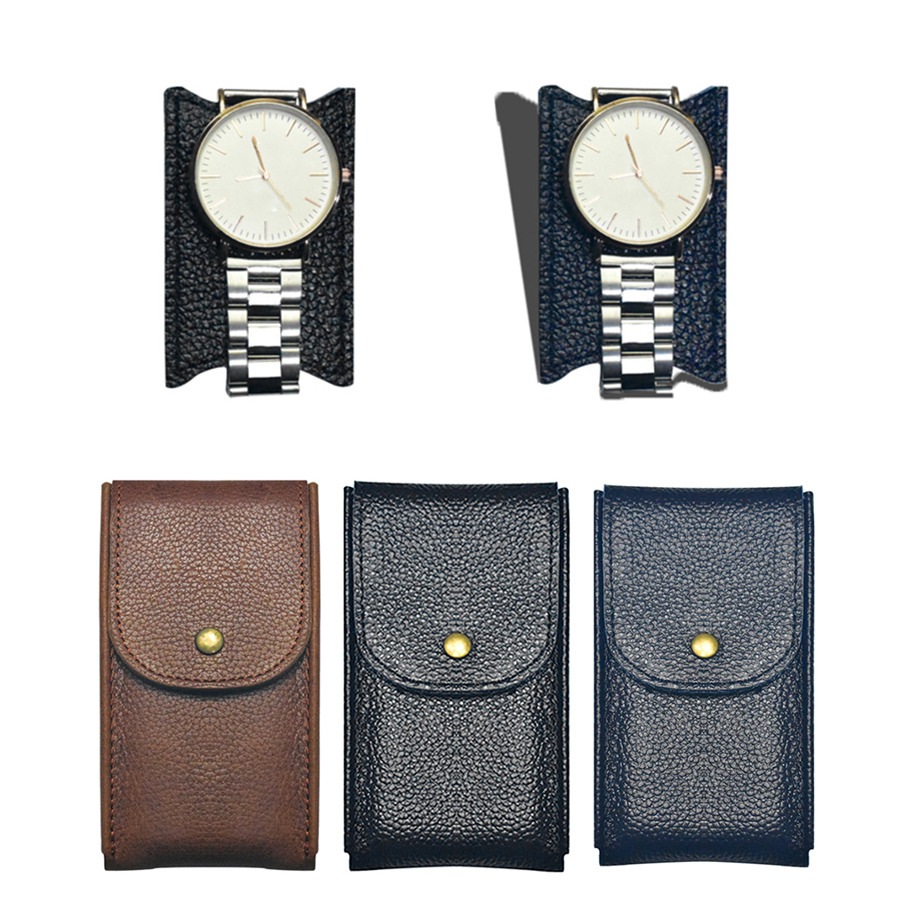 Durable Unisex Single Leather Watch Travel Pouch Wristwatch Storage Case Box
