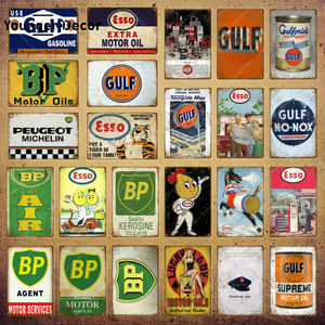 Motor Oil BP Gulf Metal Tin Signs Vintage Poster Motorcycles Car Gas Station Garage Decor Wall Art Painting Plaque YI-188(China)