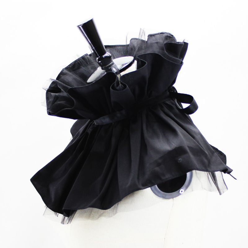 Victorian Ruffled Tulle Shawl Cape Gothic Steampunk Women Decorative Fake Collar C6UD