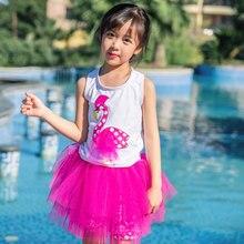 Детский цельный купальник с оборками для девочек, Солнцезащитная одежда для купания, Купальная юбка, пляжная одежда с фламинго