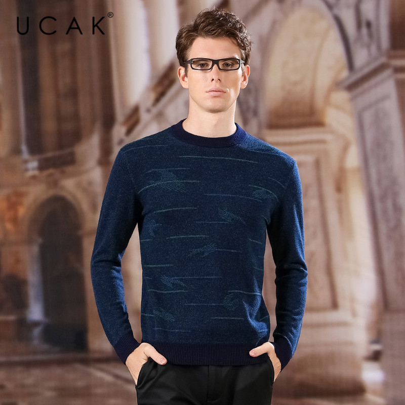 UCAK Brand Pure Merino Wool Sweaters Men 2020 NEW Fashion Trend Tops Arrival Casual O-Neck Striped Homme Pullover Sweater U3161