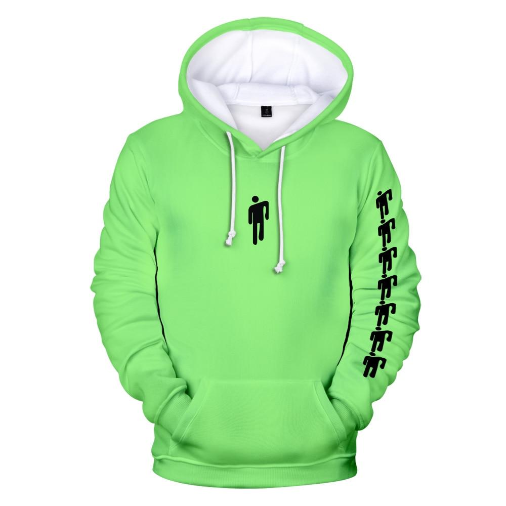 Hot Sale Eilish Billie Harajuku Neon Yellow Hoodies Sweatshirt Boys/girls Autumn Hip Hop Eilish Billie Plus Size Streetwear Tops