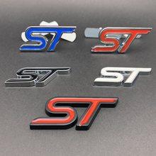 Metal vermelho azul st grade dianteira adesivo cabeça do carro grill emblema emblema adesivo cromo para ford fiesta foco mondeo carro auto estilo