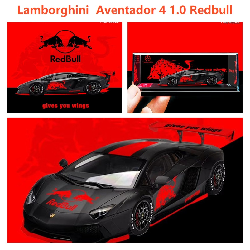 Time Model 1:64 Lambor Aventador LP700-4 2.0 RB BlackRed Diecast Model Car