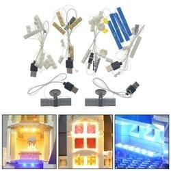 Para lego 71040 para disney castelo tijolos de iluminação porta usb kit luz led diy luminosa montado blocos construção acessórios