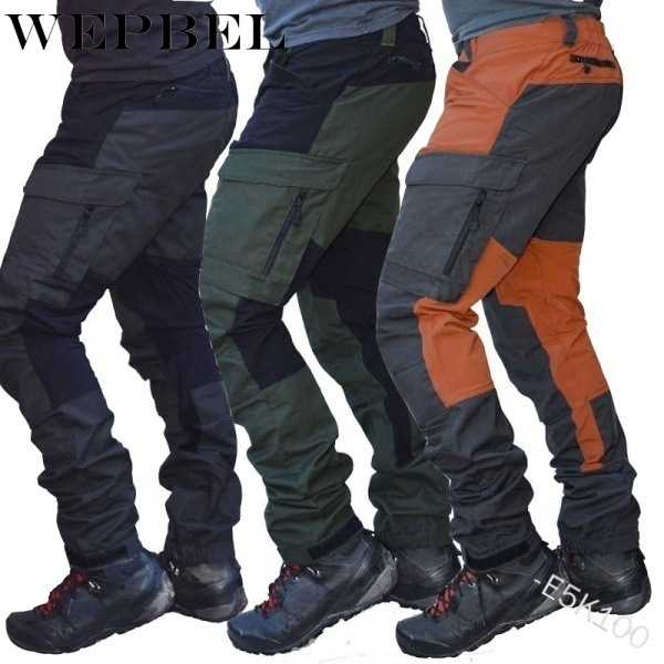 WEPBEL Men's Pants Straight Fashion Motorcycle Casual High Waist Multi-Pockets Casual Full Length Pants