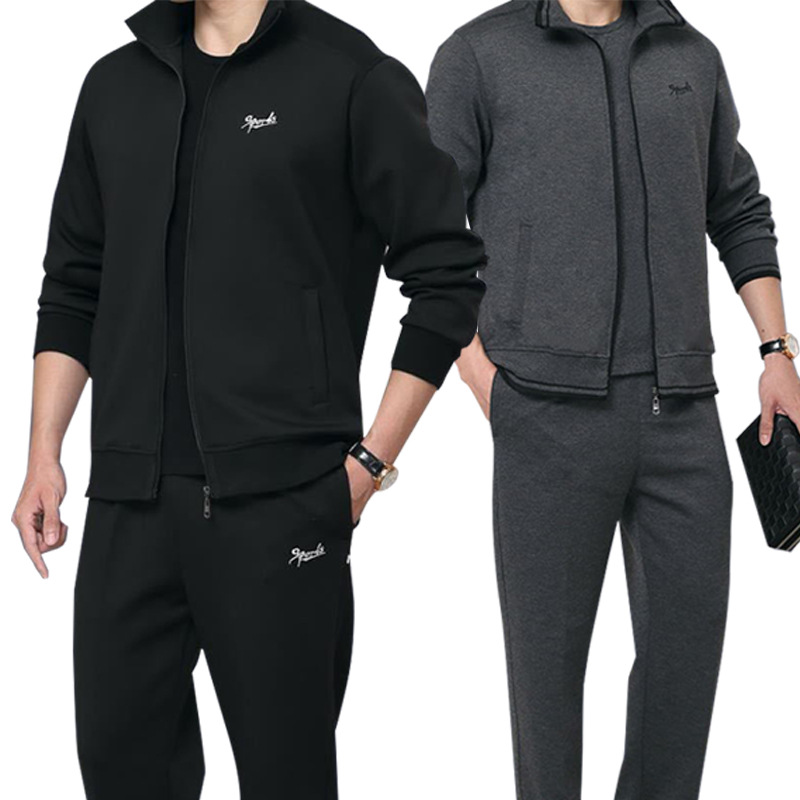 Men's 3 Pieces Tracksuit Sets Running Zipper Sweatshirt + Pants Sportswear Casual Sports Outfit Fitness Sports Suit For Men