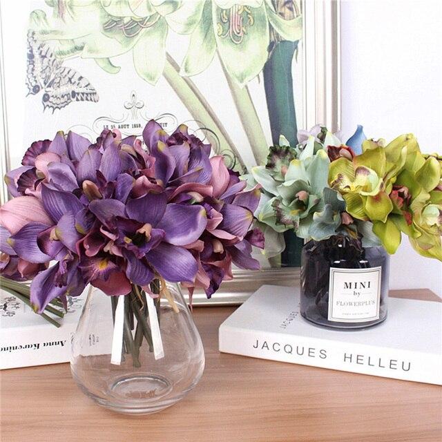 Bouquet de fleurs artificielles 7 têtes   Orchidée, décor de Table pour mariage, domicile hôtel