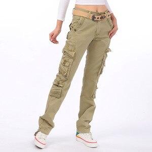 Image 2 - 女性ミリタリー迷彩カーゴパストレッチ釣りサファリ旅行パンツ女性ストレートマルチポケットズボンパンタロン