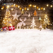 Laeacco Christmas Backdrops Wooden Board Snow Trees Deer Light Gift Christmas Tree Photography Backgrounds New Year Photophone