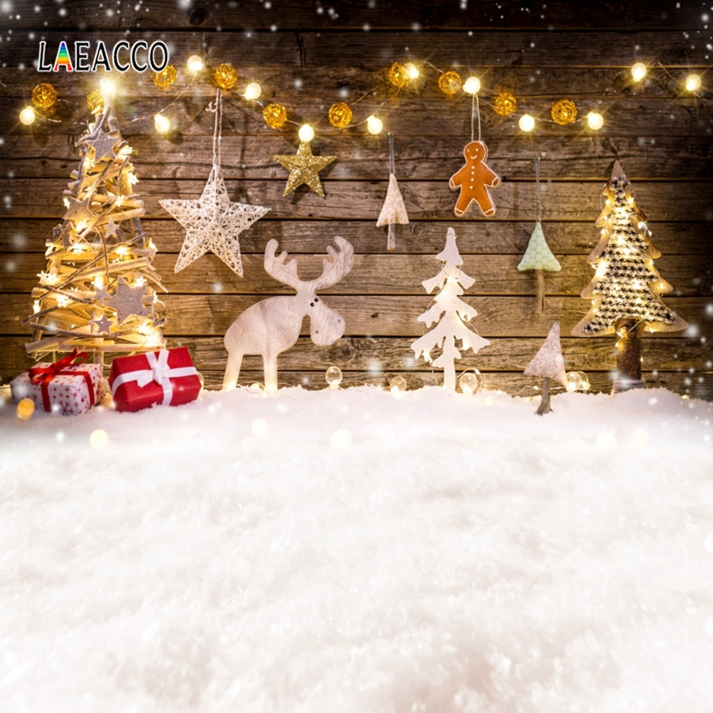 Laeacco Christmas Photophone Tree Wooden Board Star Deer Baby Photo Backgrounds Photography Backdrops For Photo Studio Photozone