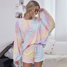 Multicolor Tie Dye long Sleeve Tee Women Pajama Sets Casual Cute Lounge