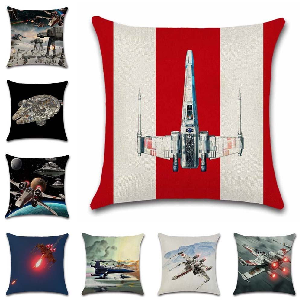 Star Plane Fighter Beige Linen Cushion Cover decorative Home Sofa Car Chair Seat Friend room office Kids gift pillowcase