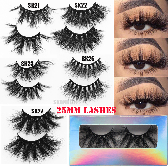 3D 25mm Mink Hair False Eyelashes Natural Long Wispies Lashes Handmade Criss-cross Eyelash Extension Makeup Tools in Bulk 1