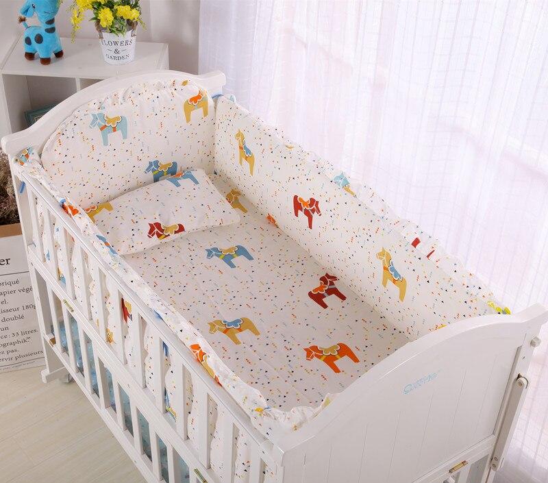 6pcs Children Kids Bedding Set Sheets For Bed Newborn Cotton Kit De Berço Crib Kit Bed Set For Kids ,4bumper+sheet+pillowcase