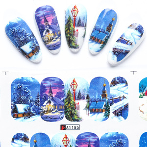 Image 5 - 12 pçs natal prego adesivos papai noel elk boneco de neve sliders transferência de água para unhas dos desenhos animados inverno ano novo manicure jibn/A 1