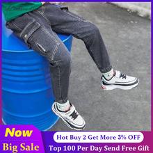 Chłopięce spodnie jeansowe 2020 nowe dżinsy zgrywanie dżinsy dla chłopców amerykańskie niebieskie dżinsy spodnie dziecięce dla 4-14 lat chłopiec ołówkowe legginsy tanie tanio Liakhouskaya Na co dzień Pasuje prawda na wymiar weź swój normalny rozmiar 2019BB001 Elastyczny pas Chłopcy Stałe