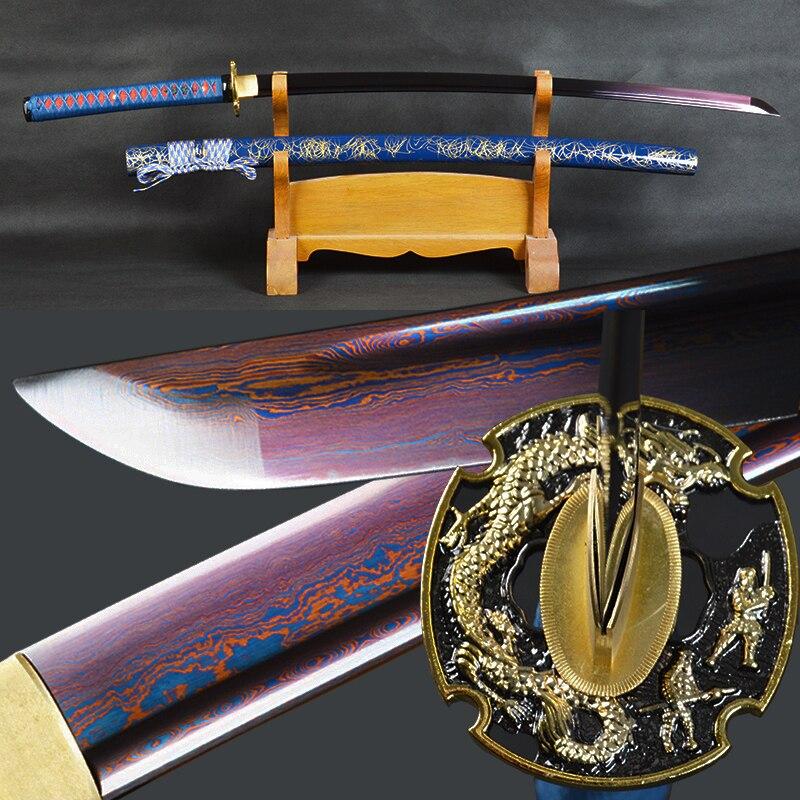 Brandon espadas mão forjado japonês samurai katana dobrado aço afiada combate espada artesanal completa tang prática de corte katana