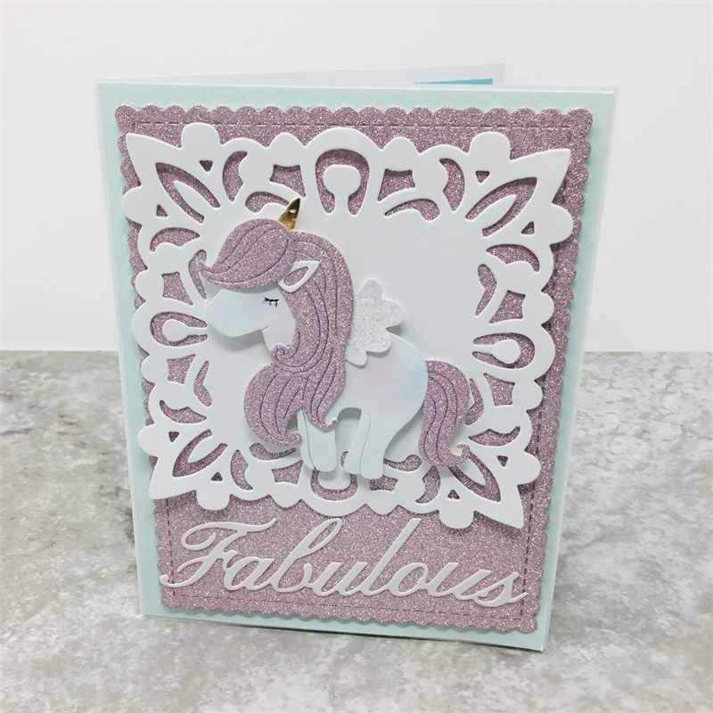 Lovely Unicorn โลหะตัดตาย Stencils สำหรับ DIY Scrapbooking/อัลบั้มรูปตกแต่งลายนูน DIY กระดาษการ์ด