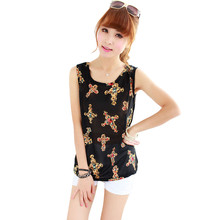 European and American women's sleeveless top students casual sleeveless wild sweet print vest women