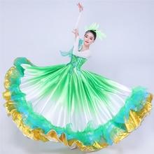Spanish Bullfight Dance Dress For Women Stage Costume Gypsy Dress Emerald Green Dancing Long Skirt Flamenco Dance Dress DL7180