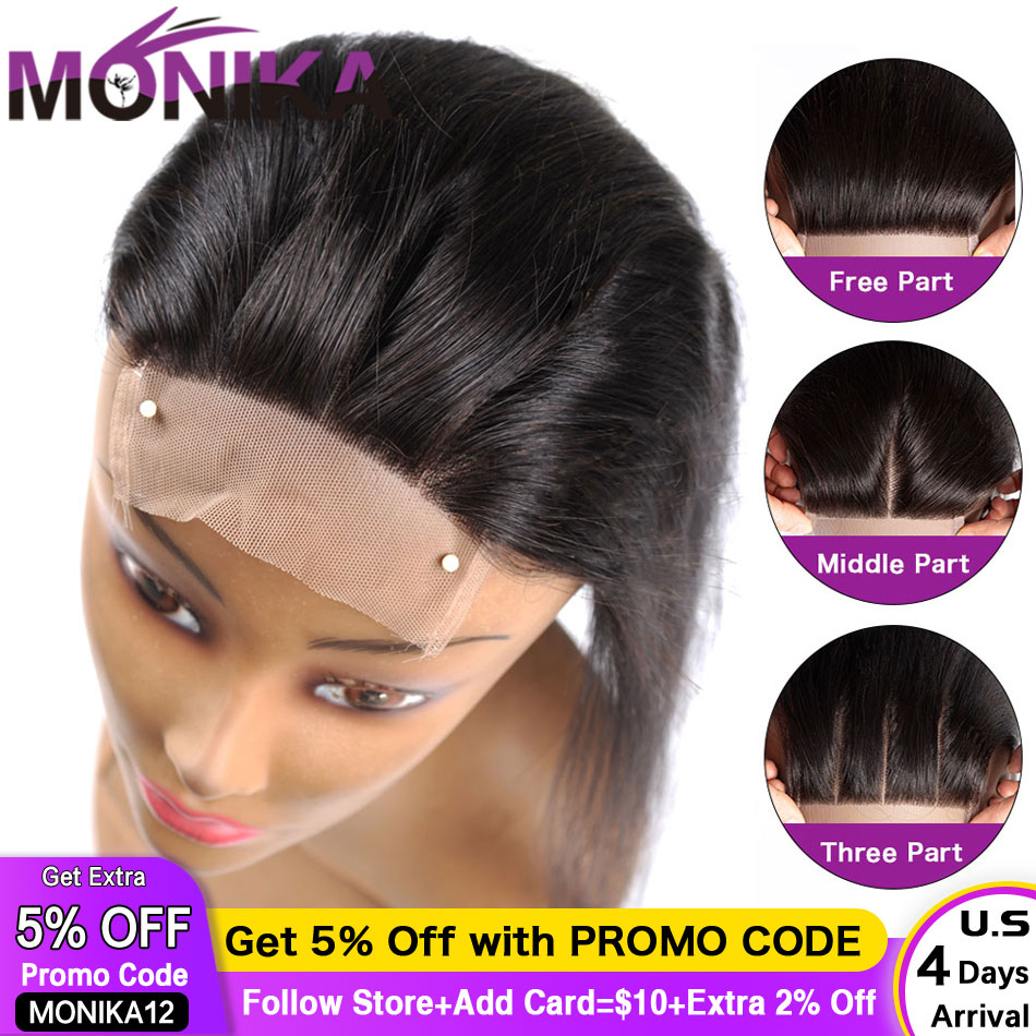 Monika 4x4 Closures Brazilian Straight Closure 100% Human Hair Closure Free/Middle/3 Part Top Lace Closure 22 Inch Non-Remy Hair