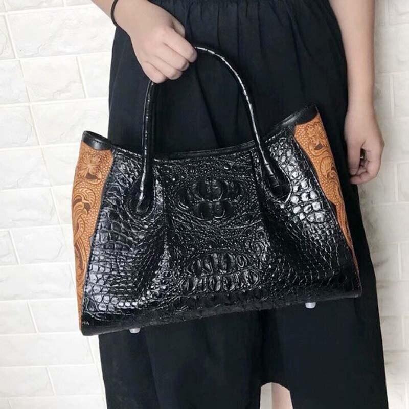 ouruili Summer new cool style crocodile skull leather female bag solid color animal grain bag crocodile skin women handbag