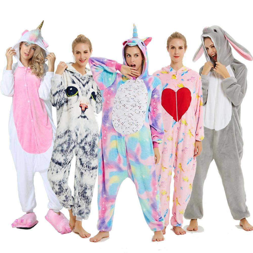 Adults Animal Kigurumi Women Pajamas Flannel Sleepwear Cosplay Winter Unisex Unicornio Stitch Cartoon Unicorn Pajamas Sets