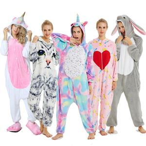 Adults Animal Kigurumi Women Pajamas Flannel Sleepwear Cosplay Winter Unisex unicornio Stitch Cartoon Unicorn Pajamas Sets(China)